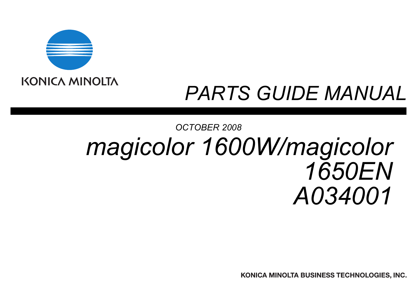 Konica-Minolta magicolor 1600W 1650EN Parts Manual